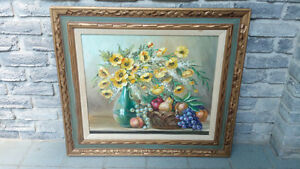 OIL ON BOARD PAINTING STILL LIFE J. E. JUDGE