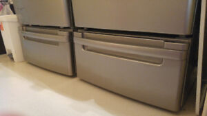 LG stainless steel grey laundry pedestals