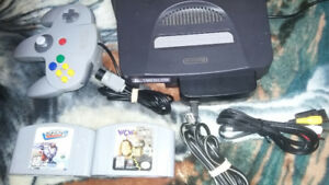Nintendo 64 N64 with controller and 2 games