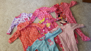 12 months girls sleepers lot