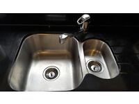 Sink & tap - double stainless steel