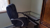 Leather high back office chair and glass top desk