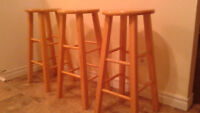 Three Pine Bar Stools in Excellent Condition $60