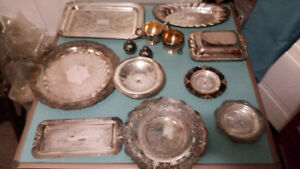 Silver Plated Lot  -Trays, Butterdish, etc,