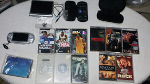 Silver psp With Protective Case, Carrying Case, 6 Mem, 6 Games +