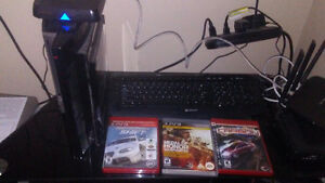 Ps 3 with 3 games and 3 wireless controllers. Works great