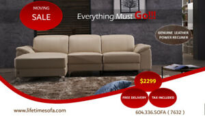 Genuine Top Grain Leather sectional with Electric recliner