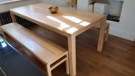 Habitat Radius 8-10 Seat Solid Oak Dining Table + 2 Matching Benches