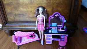 Barbie with couch and dresser