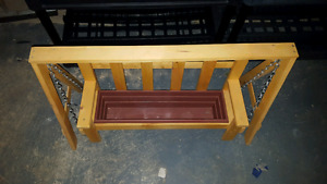 Hand made flower box swings  and Adirondack chairs