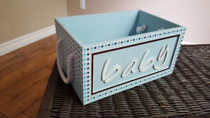 Two matching wooden baby boxes