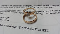 YELLOW GOLD WEDING AND ENGAGEMENT RING APPRAISED AT $1,700!
