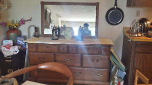 Wood Dresser with the Mirror