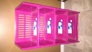 Pink storage shelves