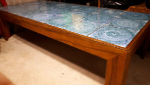 2 Tables, Solid Wood Blue Granite Finish