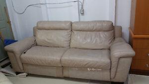 "Natuzzi 86"" 100% Cowhide Leather Sofa"