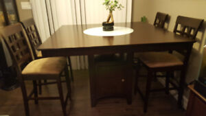 espresso table and 4 chairs bar height