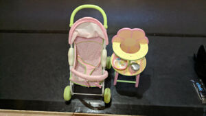 Baby Stella toy high chair and doll stroller