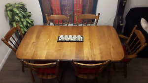 Solid Maple DIning Set - Table with insert and 6 chairs