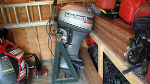 Used 1995 Mercury 2 stroke 30 hp Mariner, electric start, tiller, lo