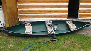 Flat Back Canoe with Trolling Motor