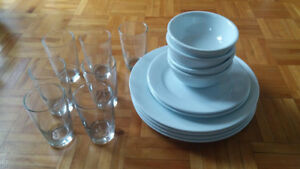 GLASSES, BOWLS AND PLATES and FREE DINNER PLATES