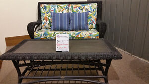 Outdoor Loveseat with Stone Top Coffee Table