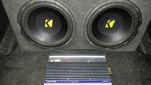 """2 12"""" kickers in box with alpine amp"""