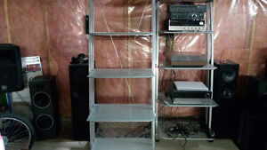 2 Aluminum and Glass Industrial Stands