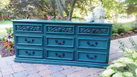 Painted Vintage Teal Dresser and Mirror- Stunning