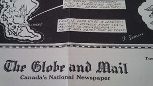 Globe and Mail Poster, Continent of South America, 1938 Kitchener / Waterloo Kitchener Area image 3