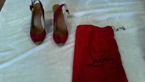 CHRISTIAN LOUBOUTIN Espadrilles Crimson wedge heels shoes  - GFW