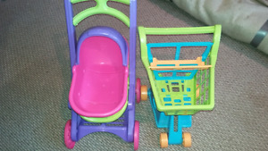 Doll stroller and shopping cart