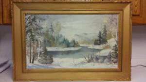Beautiful vintage landscape oil painting