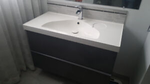 Sink cabinet with 2 drawers, gray high gloss gray