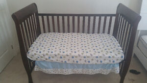 Crib, Mattress, Fitted Sheet and Skirt