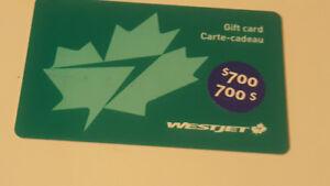 CARTE CADEAU  WESTJET A VENDRE VALEUR DE 700 $
