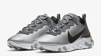 NIKE REACT ELEMENT 55 PREMIUM - UK 7.5/US 8.5/EUR 42 - SILVER/BLACK/WHITE