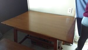 Antique Oak Table, 6 chairs & bench