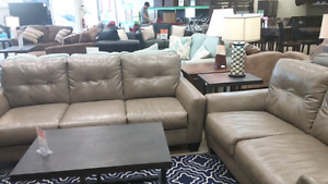 Ashley grey faux leather sofa and love $550