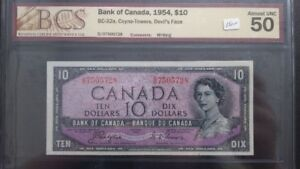 Canadian 1954  10 Dollars Bank Note
