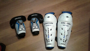 Hockey shin guards and elbow pads