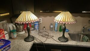Beautiful Tiffanty Style Matching Stained Glass Lamps