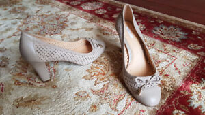 Geox Perforated Suede Tan Pumps (size 38)