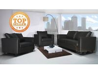 box sofa Tempo 3&2&1 Seater Sofa in a Box - Faux Leather Fabric settee, couch black brown