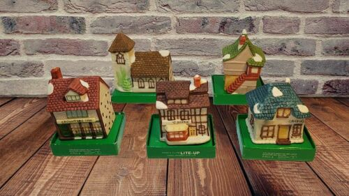 5 Vintage Dept 56 Dickens Village Cottages Clip On Light Up Bisque Ornaments