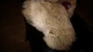 Fox fur mittens