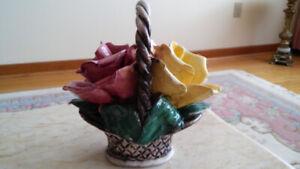 Antique Italian porcelain flowers basket