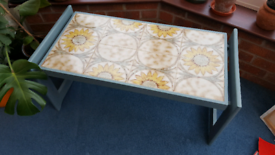 Stunning blue wooden and tile coffee table with sunflowers, blue