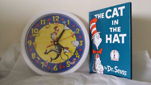 ▀▄▀Dr Seuss Cat in the Hat character wall clock & Book